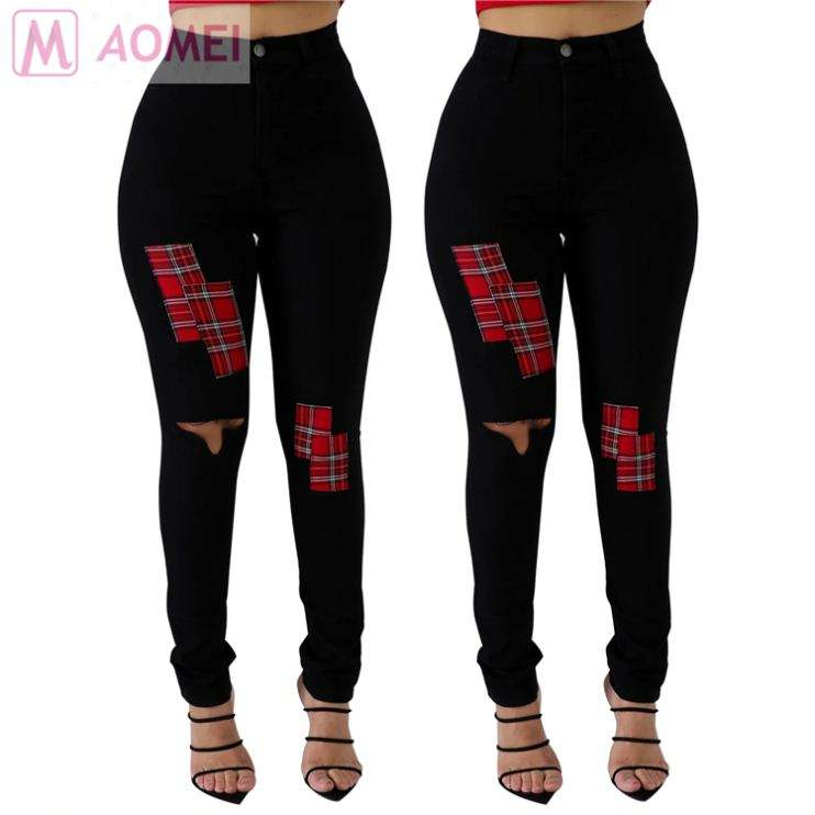 B3036 newest design high stretch patches ripped black women clothing fashion jeans