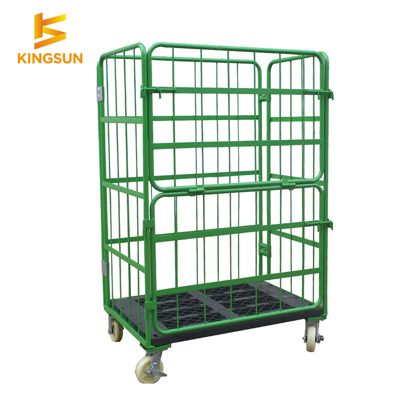 Foldable best quality detachable warehouse logistics transport cargo pallet logistic carts roll cages trolley for sale
