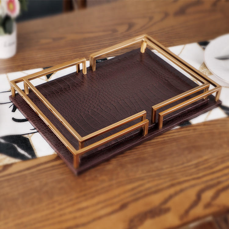 Decorative antiques brass square wood tray india