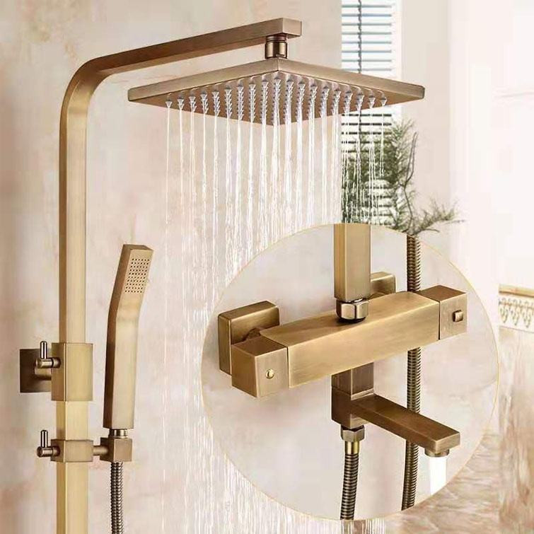 Antique Finish Bath Taps Bathroom Faucet Set Thermostat Thermostatic Shower Mixer With Shower