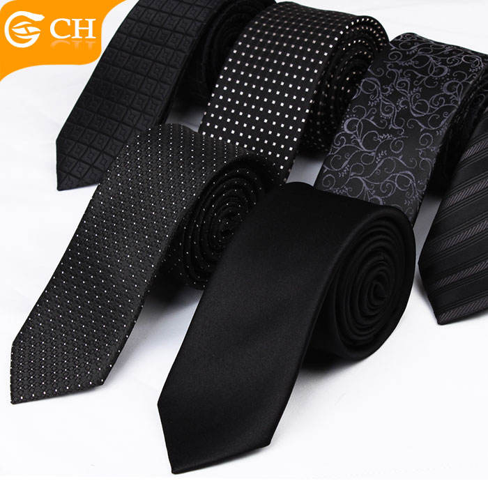 Various Designs 100% Polyester 6CM Classical Black Mens Ties Slim For Wholesale