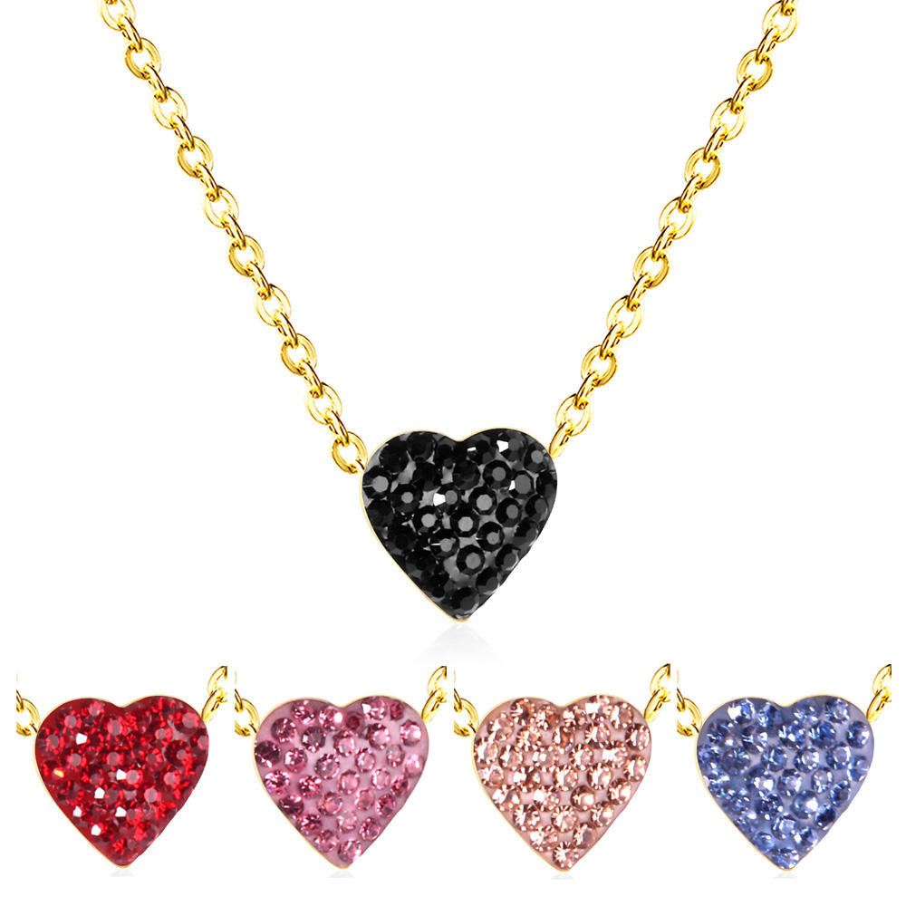 Girlfriend Gift Gold Stainless Steel Black Pink Blue Red Zircon Diamond Heart Necklace