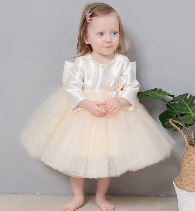 Elegant Big Bow Baby Girl Dress Long Sleeve Children Wedding Ball Gown Bridesmaid Evening Princess Dress