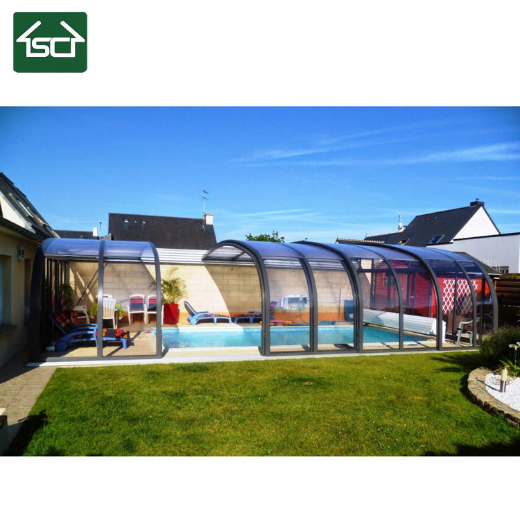 2020 new design polycarbonate swimming pool retractable cover