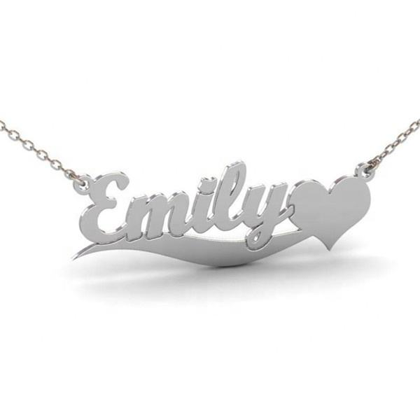 Yiwu Aceon Stainless Steel Custom Font Layout Laser Cut Heart Name Necklace