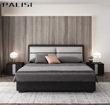 Bed Room Furniture For Hotel/Home Simple Combined Leather Fabric Bed Double  Bed