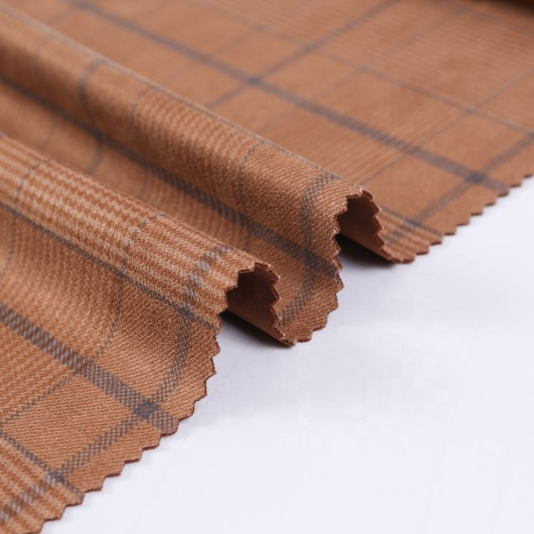 Tear-resistant [ Printed Fabric ] Printed Suede Cloth Fabric Plaid Tartan Knitting Printed Suede Fashion Crepe Scuba Fabric Spandex