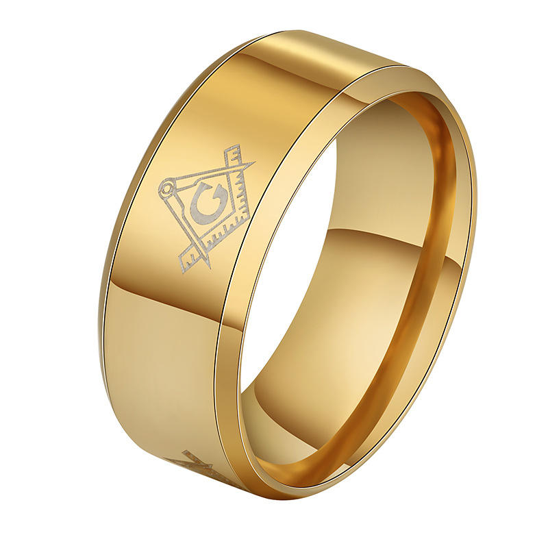 Men's Stainless Steel Glossy Fraternal Order Ring Masonic Insignia Rings for Men