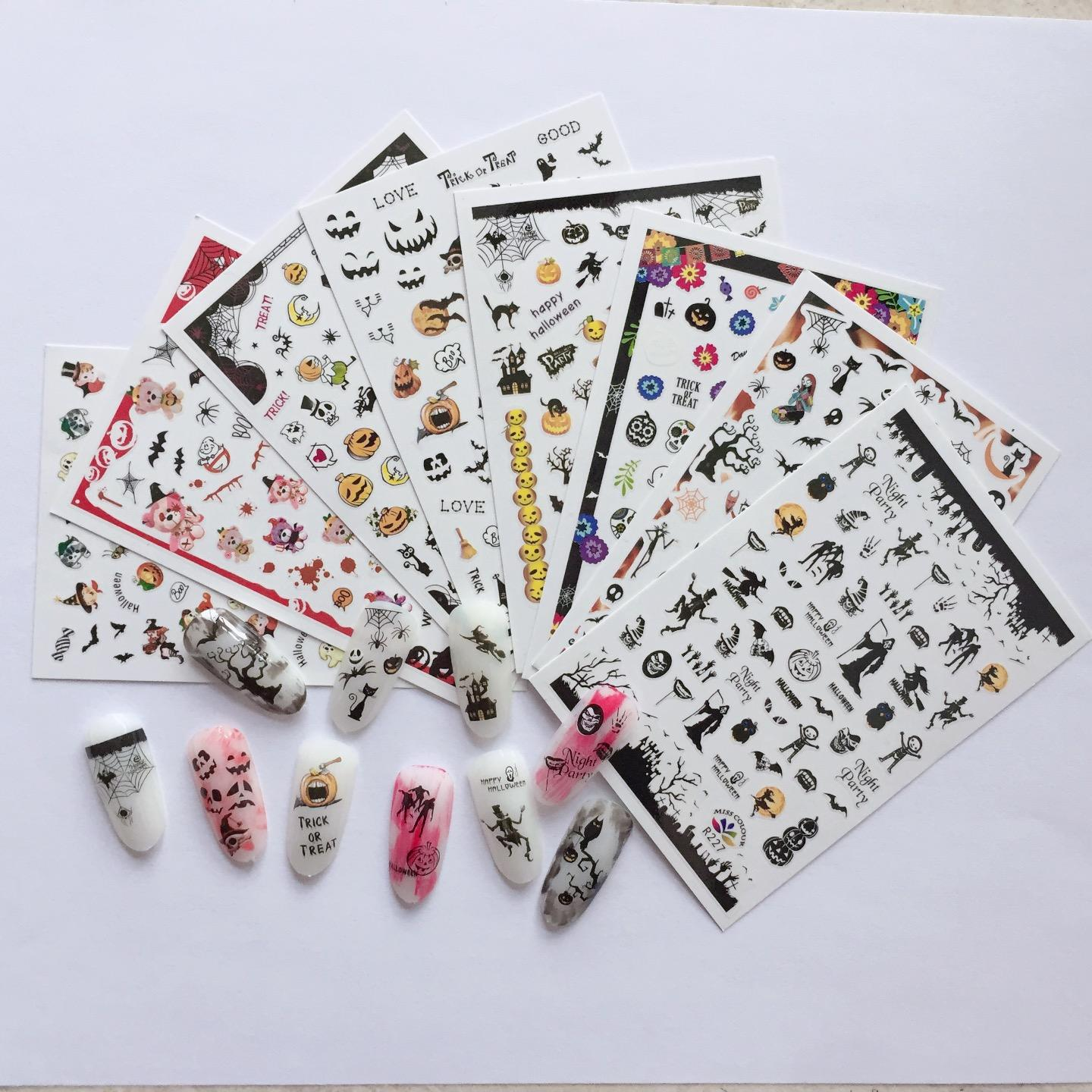 2020 popular 3D adhesive halloween nail art decoration nail decals nail sticker