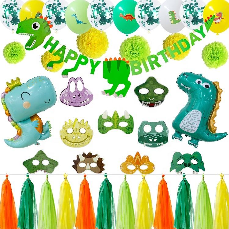 Umiss Papier Party Dekoration liefert Dinosaurier Thema Party Dekor mit Banner Luftballons Alles Gute zum Geburtstag Party OEM