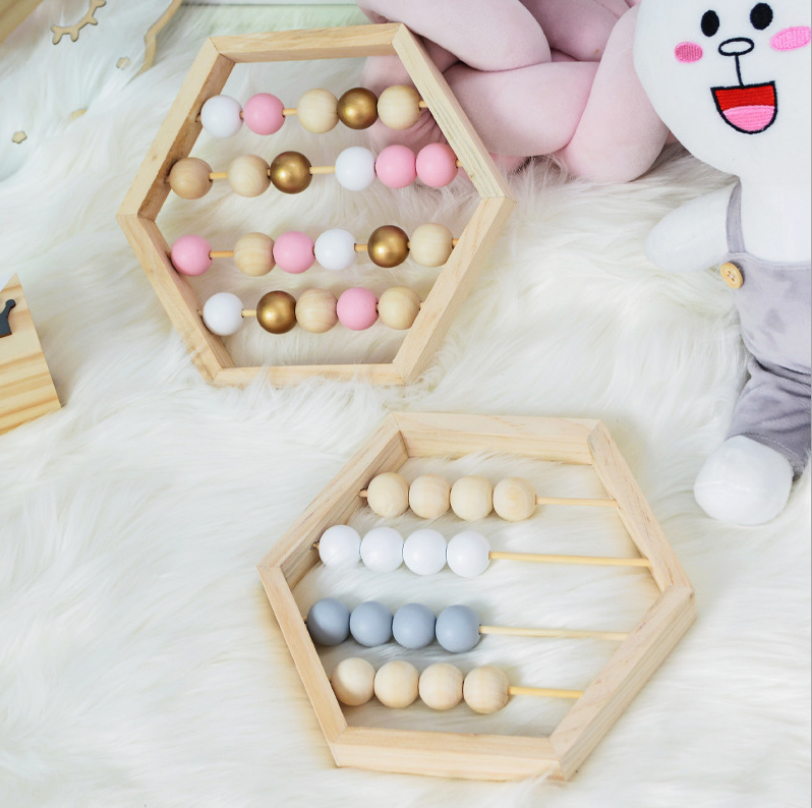 Wholesales Nordic Style Wooden Bead Abacus Classic Counting Tool Educational Kid Toy