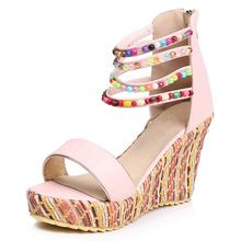 2019 summer custom made women's beaded National style Increase wedge sandals wholesalers