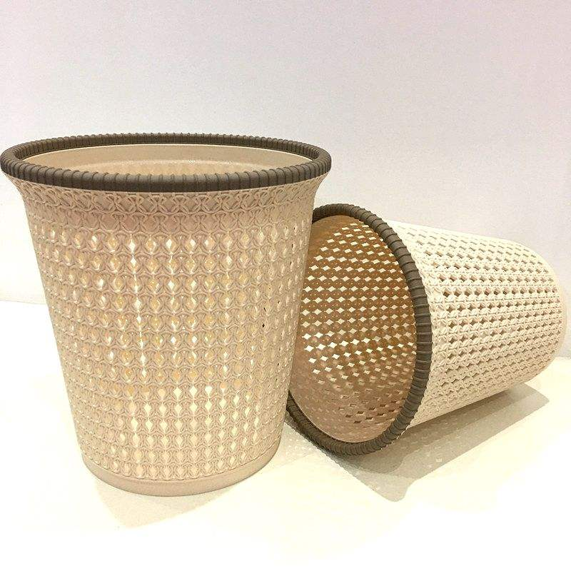 Beautiful Indoor Rattan Plastic Trash Can For Sales