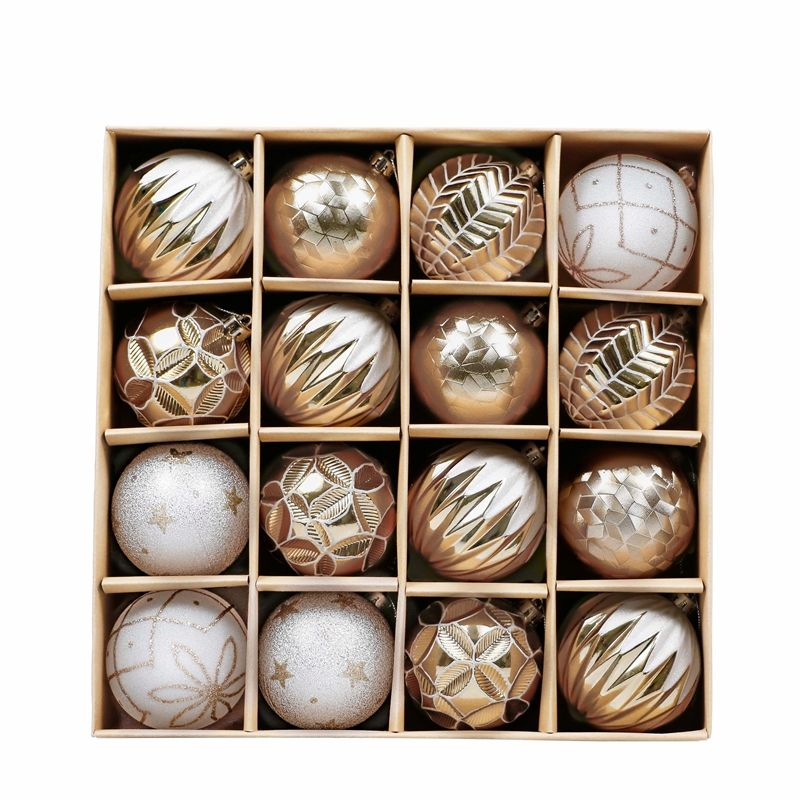 EAGLEGIFTS Amazon top sale 80mm 16pcs white and gold shatterproof christmas ball ornament