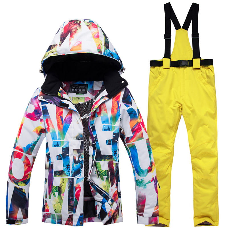 Warm New Winter Women Waterproof Two Piece Skiing Suits Ski Suit Snowboard Jacket
