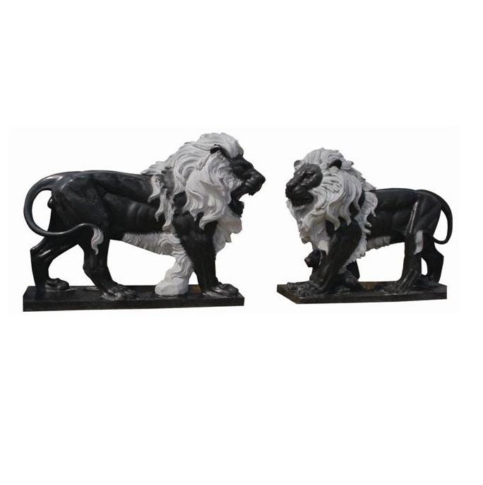 MGL019 Big Black Stone Lion Statues For Sale