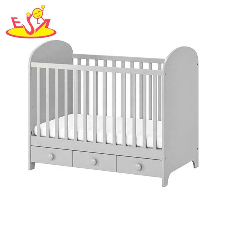 high quality modern wooden baby cot with drawer W08E025