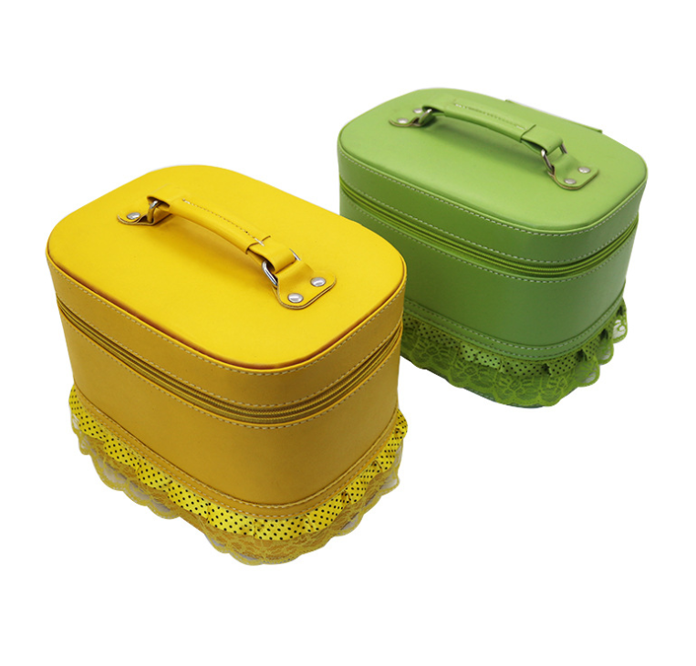 GW jelly purses Wholesale solid-color rimmed leather cosmetic bags Cosmetic storage boxes portable travel tools cosmetic bags