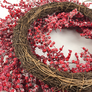 Wholesale Red Berry christmas wreaths for front door Greenery Wall