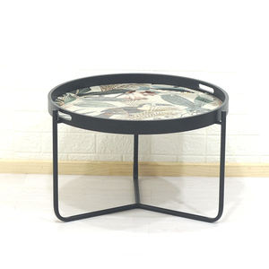 Large Round Modern Furniture Black Enamel Accent Side End Tray Table