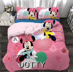 Wholesale cartoon mickey mouse design 3D 100% microfiber polyester duvet cover and sheet bedding set for children and kids