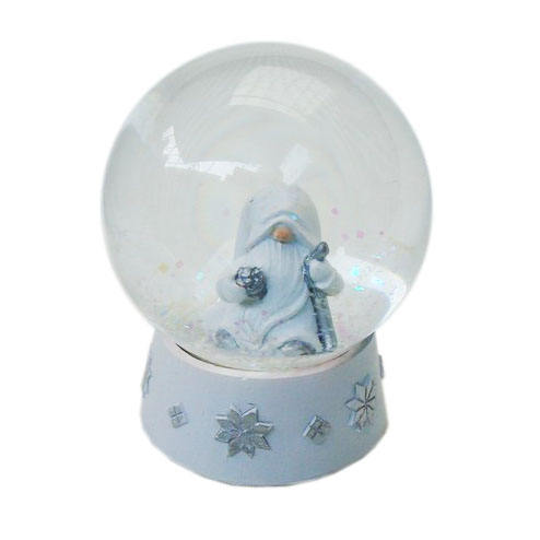 Christmas decoration and gifts Resin Base White snow globes Gnome old man with Falling Snowflakes