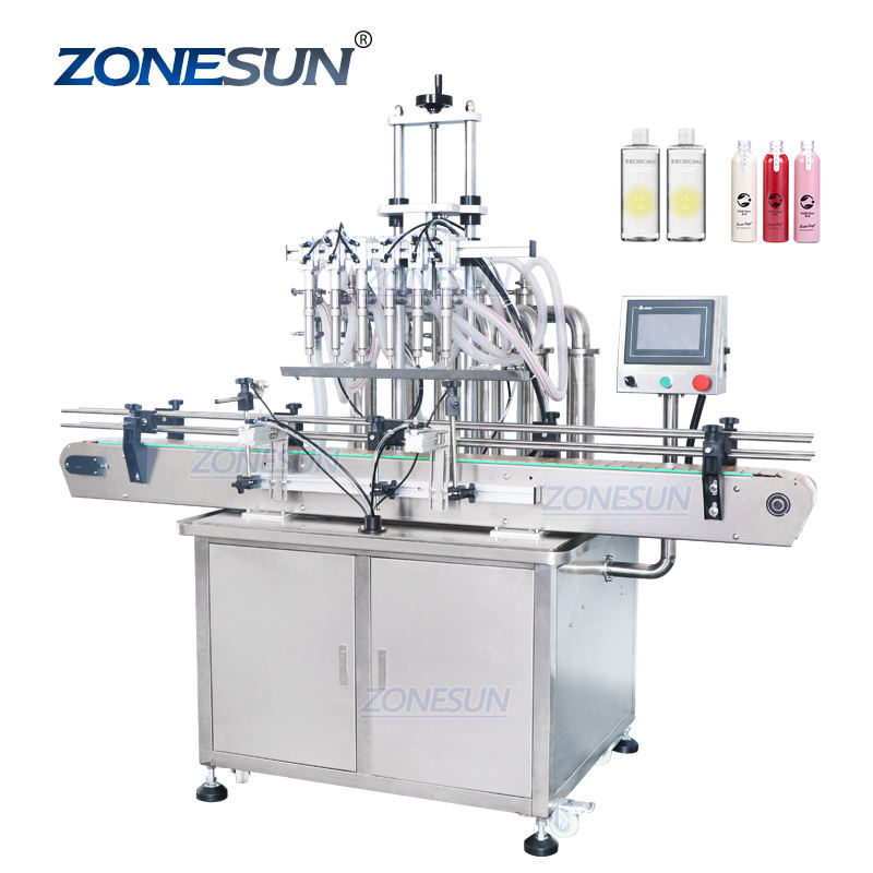 ZONESUN ZS-YT6T-6Y Automatic Pneumatic Fruit Juice Soap Detergent 6Heads Bottle Filling Machine Line With Cheap Price
