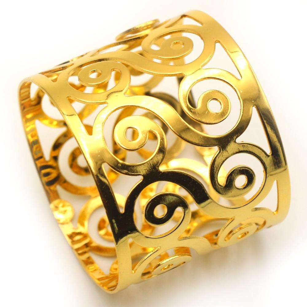 Grace wholesale cheap round hollow out gold metal decoration wedding napkin rings