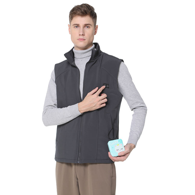 OEM ODM Service Carbon Fiber Heating 5V Custom Dark Gray Washable Men Heated Vest