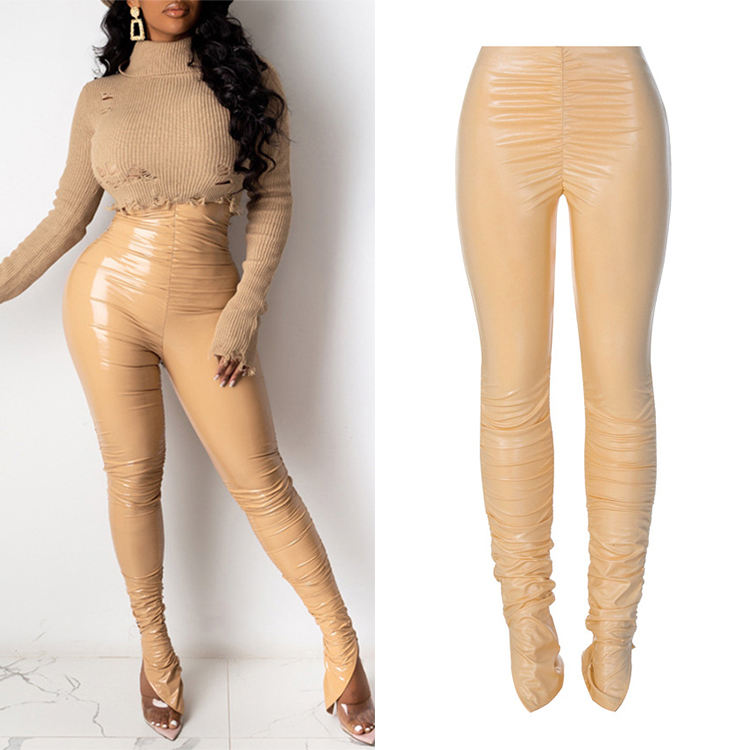Wholesale Price Autumn Winter Women Fashion Streetwear Outfits Club Trousers Pu Leather High Waist Stacked Pants