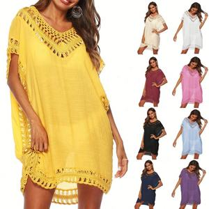 2020 New Design Beach Casual Dress Bikini Blouse Lace Hollow-out Beach Suntan Beach Cover Ups Swimwear Dress