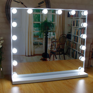 New Amazon Bedroom Lighted Standing LED Cosmetic Mirror Wall Mounted Bulbs Makeup Vanity Hollywood Mirror with lights bulbs