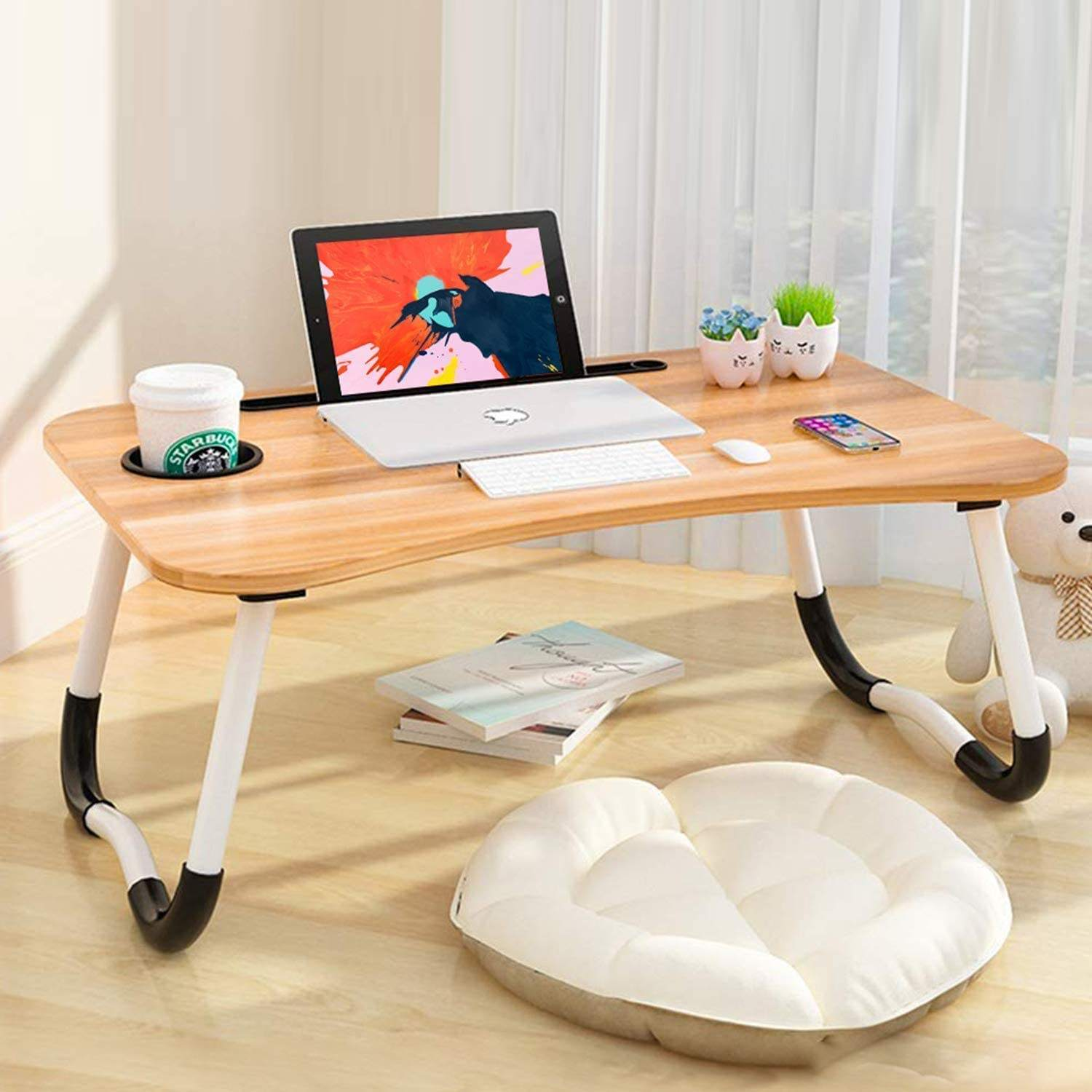 Wooden Folding Laptop Table,Laptop Table Adjustable Bed Desk,Laptop Bed Wooden Foldable Table