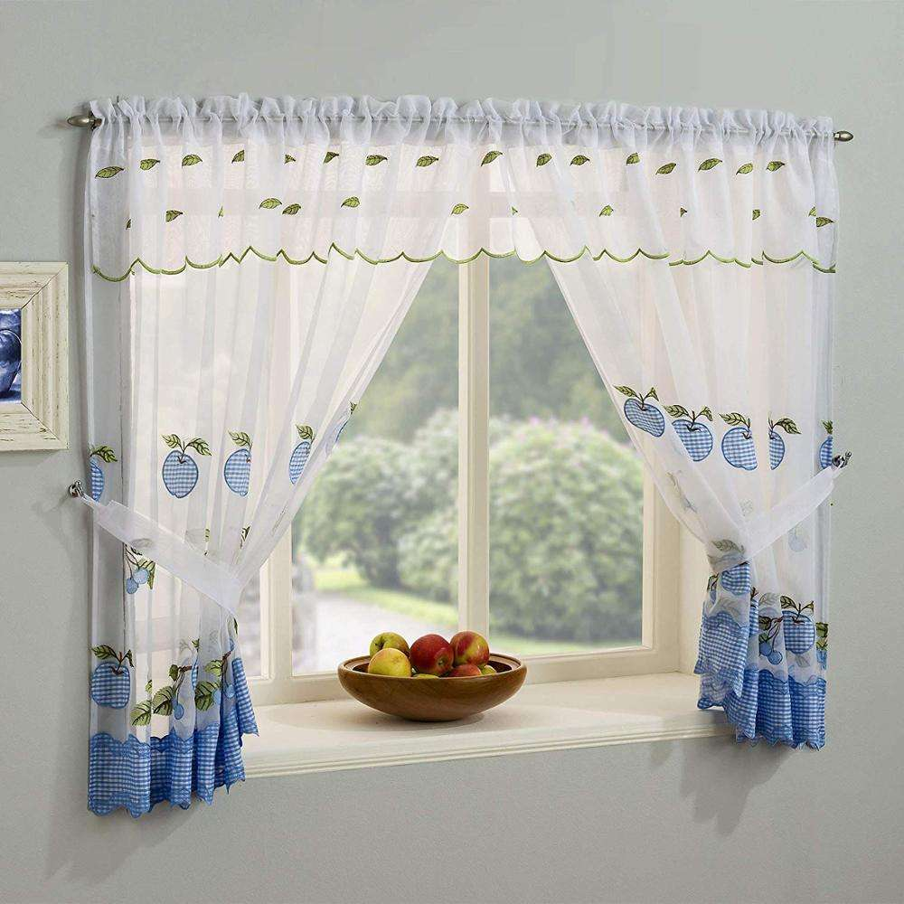 Classical voile embroidery kitchen curtain ready made curtains for the living room