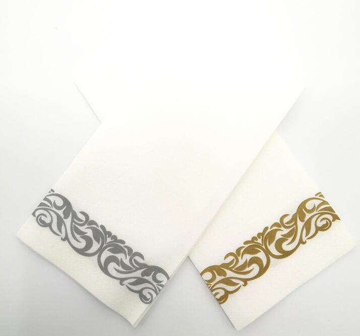 12*17 inch 1/6 fold Disposable Soft & Absorbent Towels With Silver Floral Decoration Airlaid Paper Hand Guest Towel
