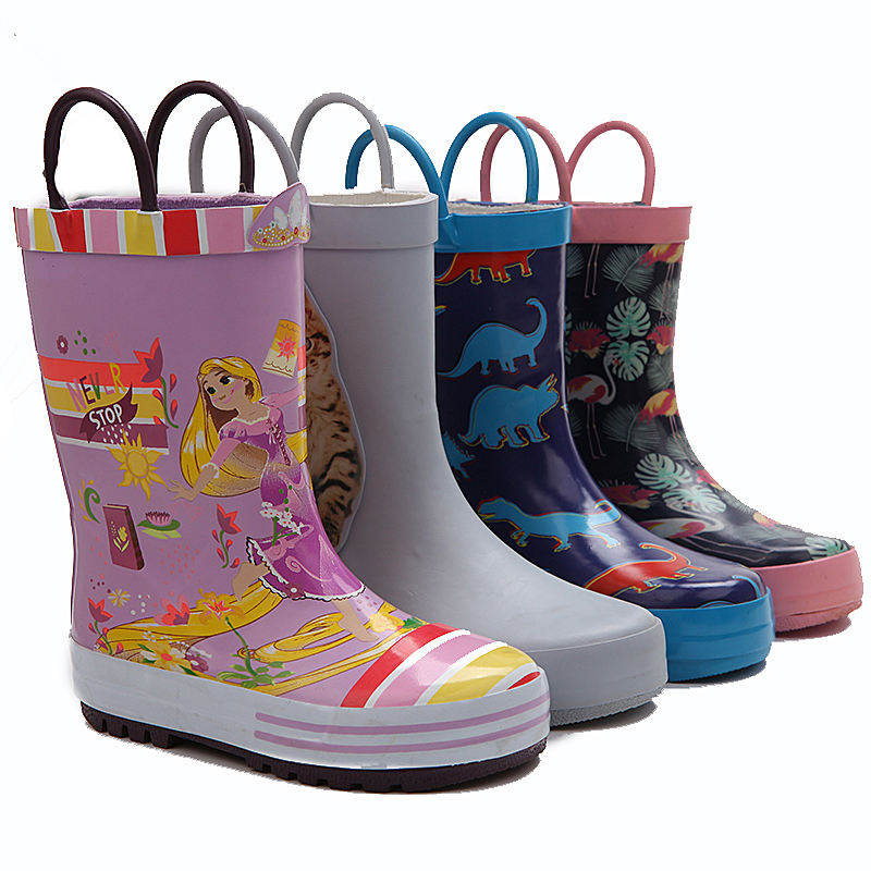 wholesale children pink girl printing rubber rain wellington gum boots for cowboy