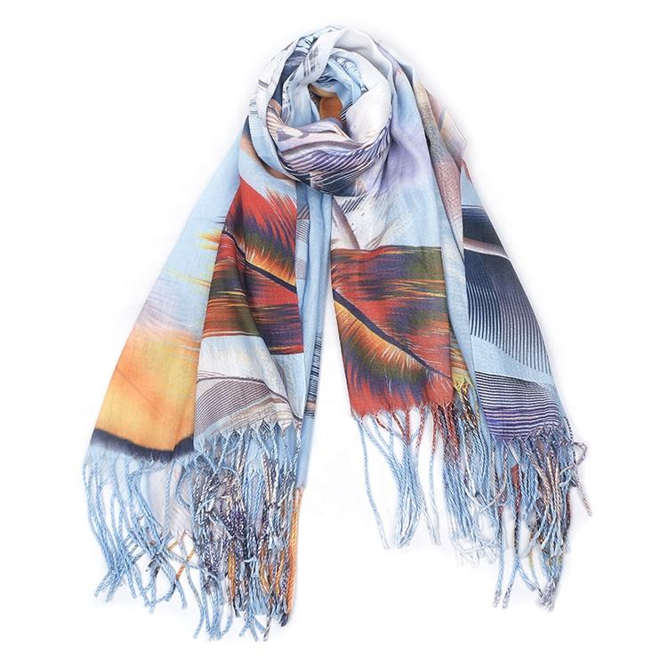 Feather Pattern Digital Print Custom Scarf 100*100 Square Linen Scarf Women Scarf