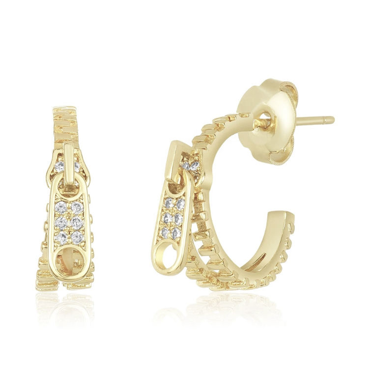 Fashion jewelry 925 silver design zipper puller hoop stud earrings