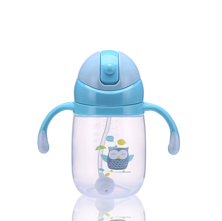 BPA Free 300ml Factory Outlet Transparent pp baby cup cartoon straw training cup