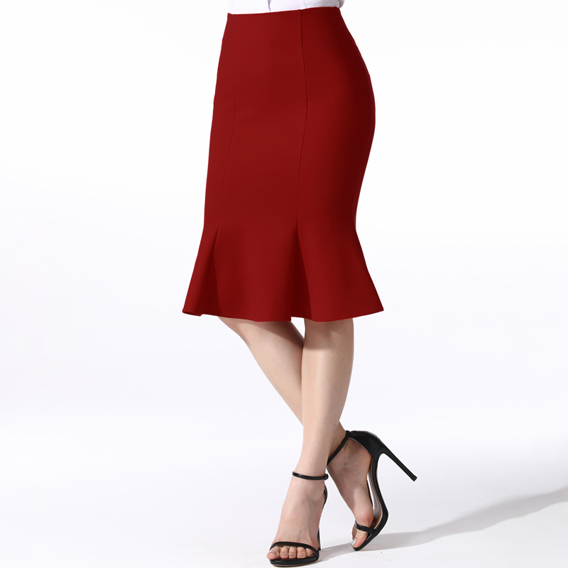 Fishtail skirt with a long flounce skirt high-waisted stretch skirt