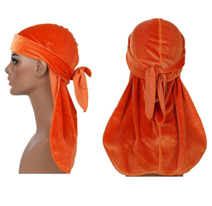 Wholesale Custom velvet durag multi kinds solid color for your choice long tail premium shiny durag cap bandana