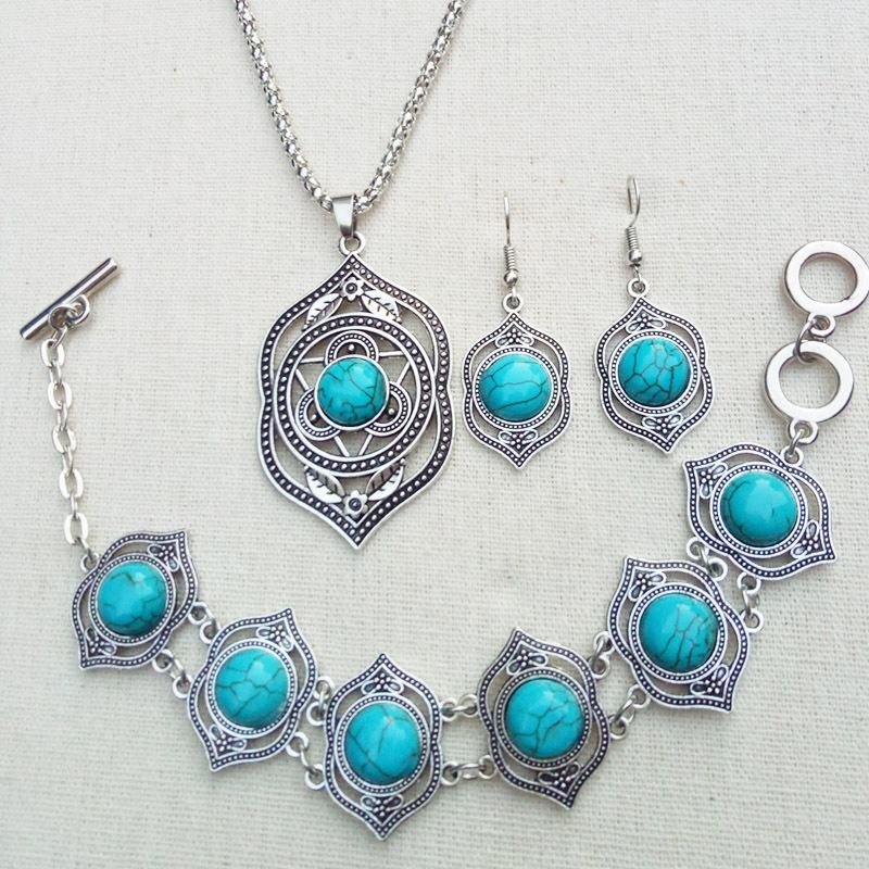 Amazon Hot Selling Women Jewelry Set Fashion Trendy Dubai Turquoise Gemstone Retro Jewelry Set