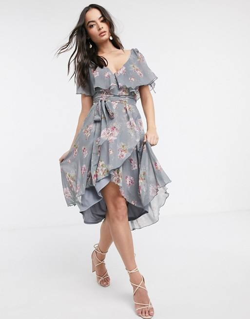 split sleeve cape back dipped hem midi dress with tie shoulder in floral print for women customized logo wholesale