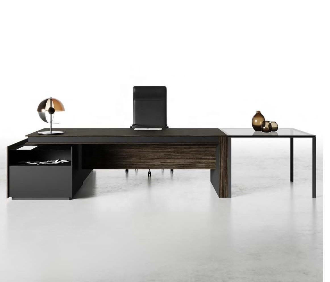 High quality wood Italian design executive desk with side cabinet and undertop drawer large table CEO president boss VITTORIA
