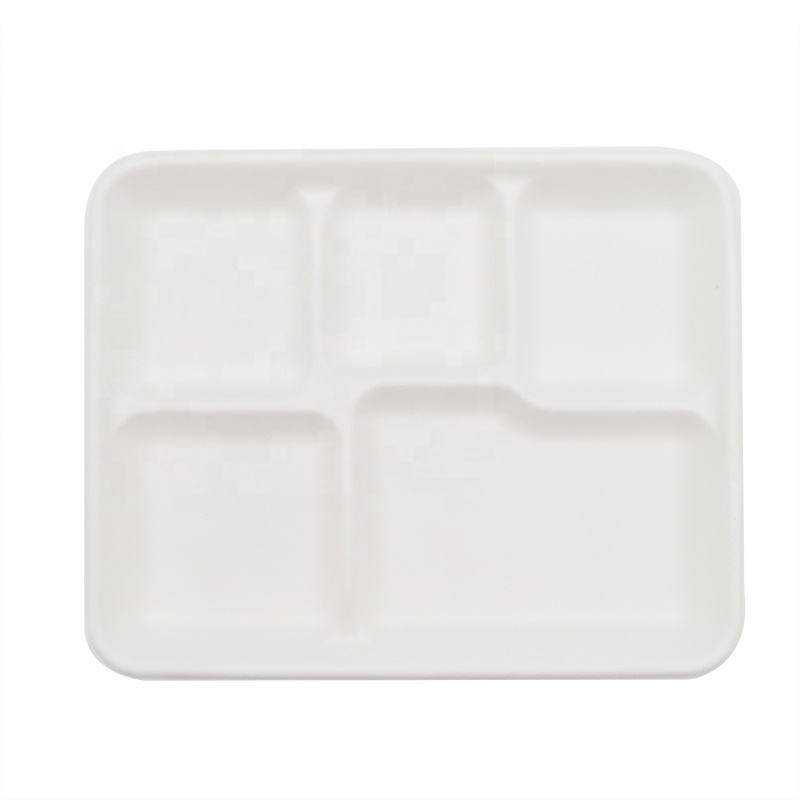 Wholesale Restaurant Square 5 Compartment Biodegradable Sugarcane Bagasse Lunch Tray