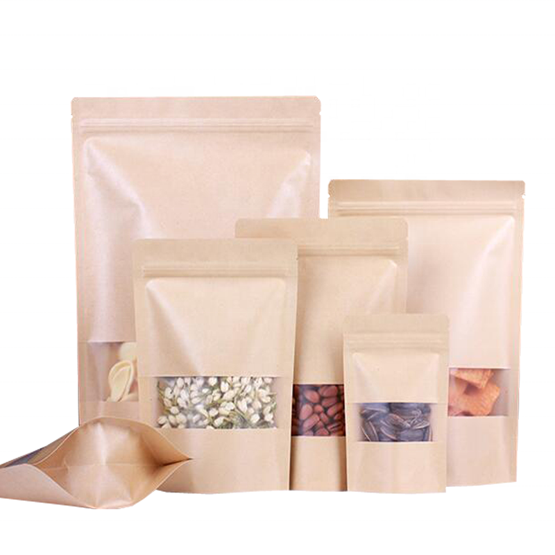 Different Sizes High Quality Ziplock Window Paper Bag For Snack/Nuts/Powder Packing