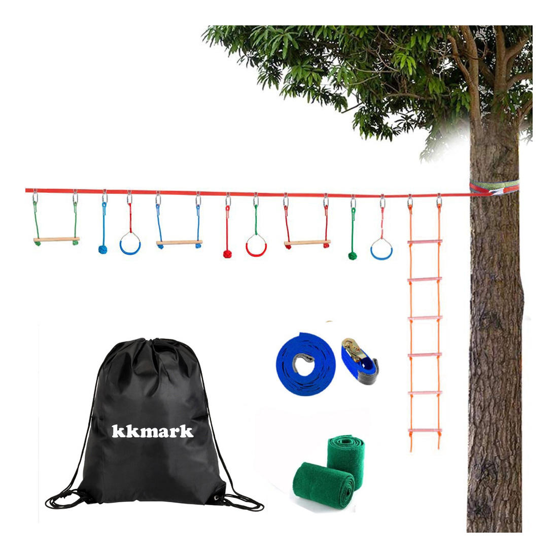 Ninja Obstacle Course for Kids Training Line for Backyard Play Line Monkey Bars Fists Rope Knots Gymnastic Rings Rope Ladder