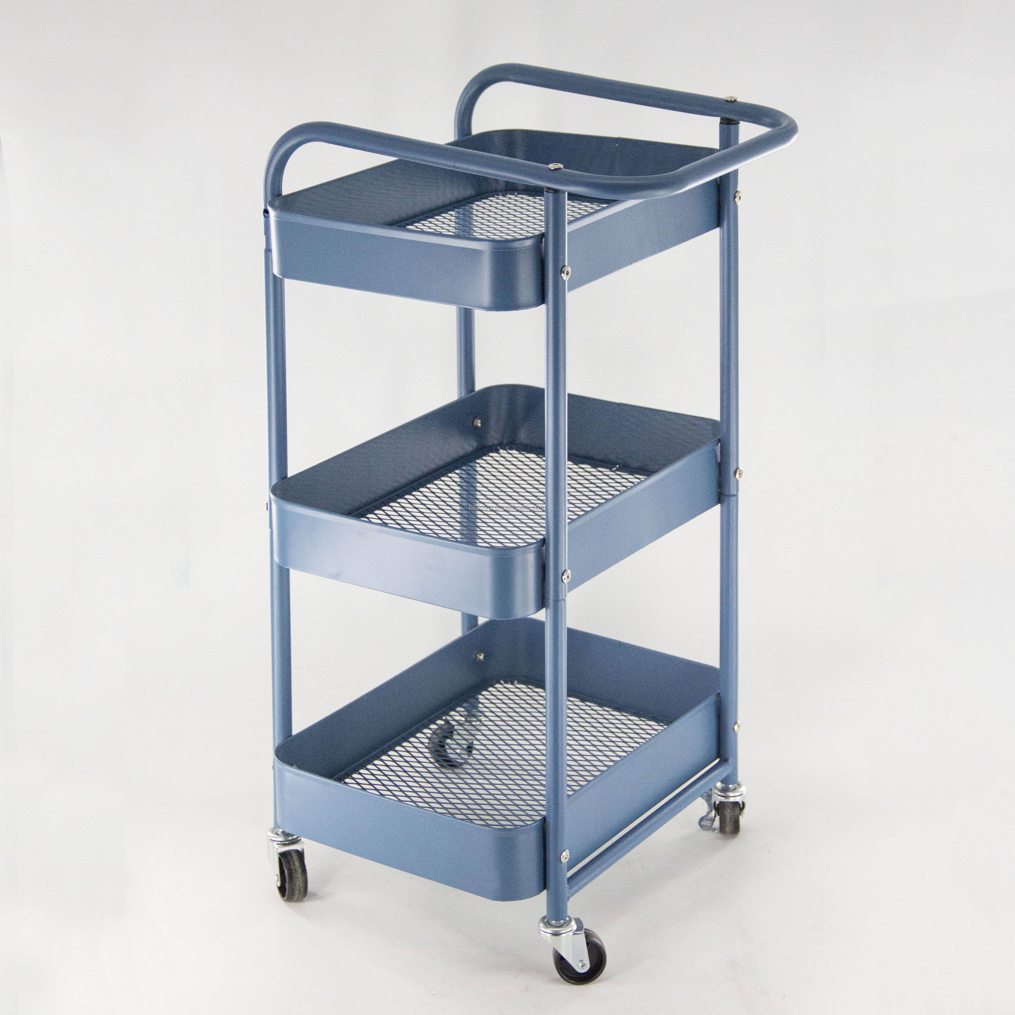 3-layer height-adjustable storage rack trolley sturdy four-wheel rolling trolley kitchen storage rack