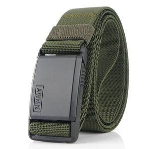Newest sale custom design thick nylon tape mens belt with metal buckle