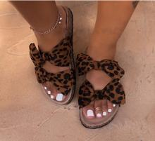 Summer Sexy Bow Slippers Leopard Flat Sandals For Ladies
